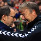 Republic of Ireland manager Martin O'Neill, left, is hoping to get the better of Denmark counterpart Age Hareide