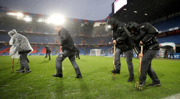 Basel are to relay the pitch at St Jakob-Park after the damage sustained during Switzerland's goalless draw with Northern Ireland