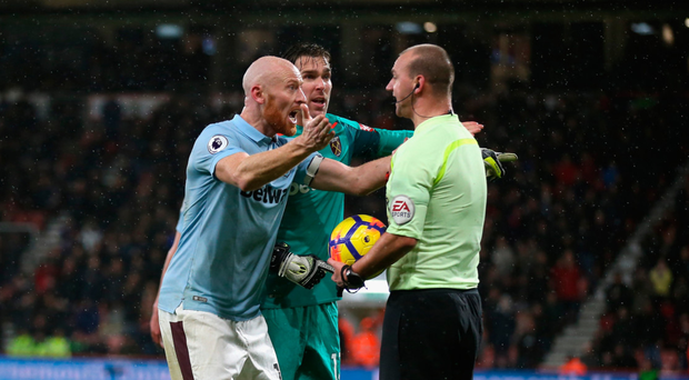 Up in arms: James Collins and Adrian confront Bobby Madley