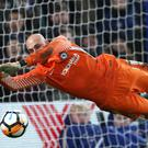 Chelsea goalkeeper Willy Caballero saves a penalty (Tim Goode/EMPICS)