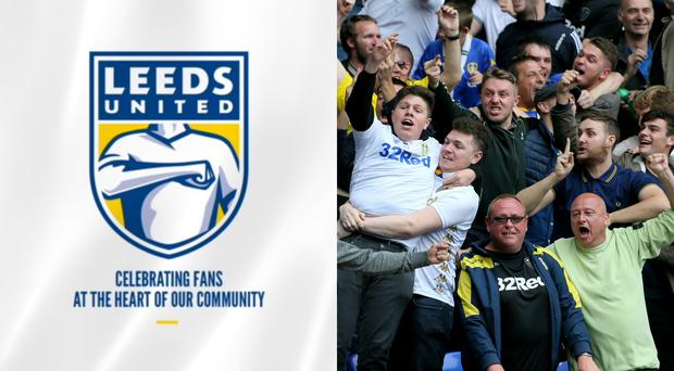 The new Leeds United badge side by side with some Leeds fans