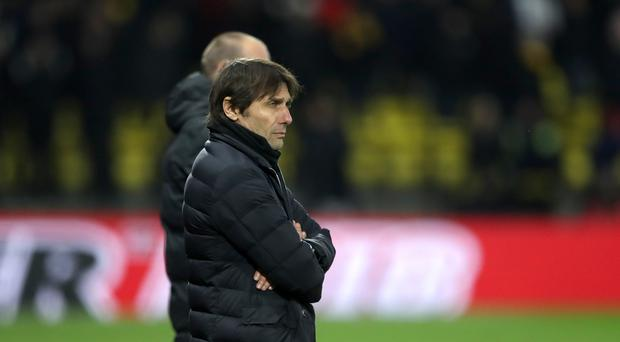 Chelsea manager Antonio Conte looks dejected during the Premier League match at Vicarage Road, Watford. (Adam Davy/PA)