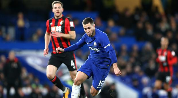 Chelsea midfielder Eden Hazard (left) accepts it has been difficult to juggle both a successful domestic and European campaign (Nigel French/PA Wire)