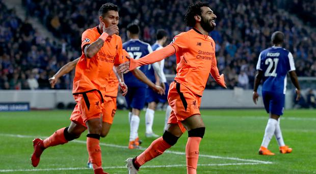 Mohamed Salah celebrates his goal