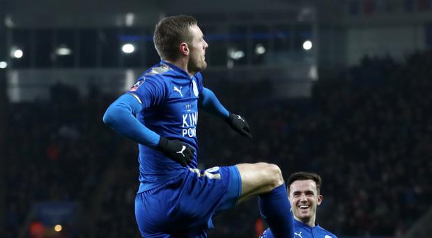 Jamie Vardy celebrates scoring against Sheffield United (Tim Goode/Empics)