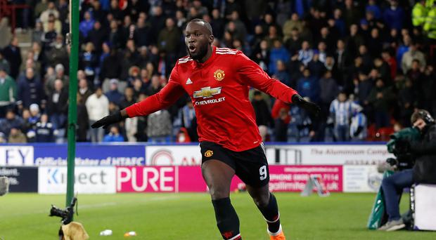 Romelu Lukaku celebrates his second goal