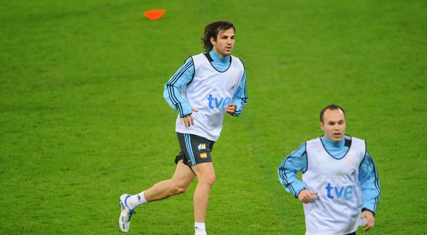 Cesc Fabregas and Andres Iniesta train together for Spain at Wembley