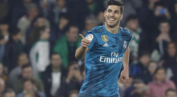 Marco Asensio celebrates his goal in Betis