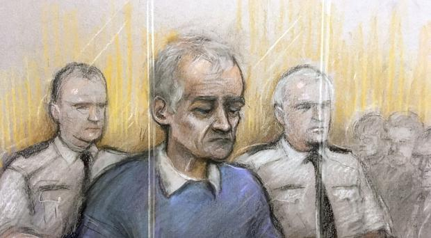 Court artist sketch of Barry Bennell appearing at Liverpool Crown Court (Elizabeth Cook/PA)