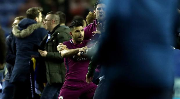 Sergio Aguero was involved in a clash after the game (Tim Goode/EMPICS)
