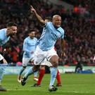 Vincent Kompany was on target as Manchester City won the Carabao Cup