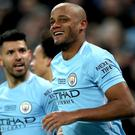 Manchester City's Vincent Kompany scored as his side beat Arsenal 3-0 to win the Carabao Cup