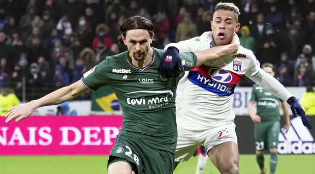 Lyon's Mariano Diaz, right, scored in his side's draw with St Etienne