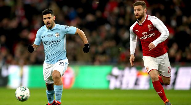 Sergio Aguero showed why he loves playing against Arsenal