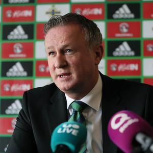 Northern Ireland manager Michael O'Neill has taken aim at the FAI for targeting players from a nationalist background to switch allegiances to play for the Republic of Ireland. (Brian Lawless/PA)