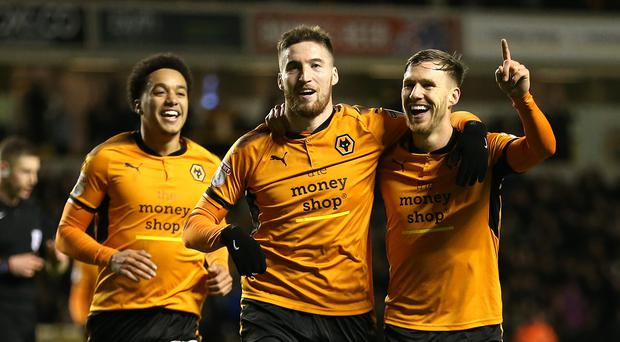 Matt Doherty, centre, scored twice