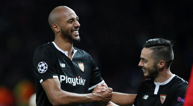 Sevilla's Steven Nzonzi celebrates after victory at Old Trafford (Martin Rickett/PA).