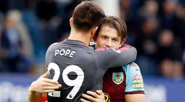 Nick Pope, left, and Burnley team-mate James Tarkowski are in the England squad (Martin Rickett/PA)