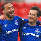 Cenk Tosun, left, feels he is adapting to English football (Mike Egerton/PA)