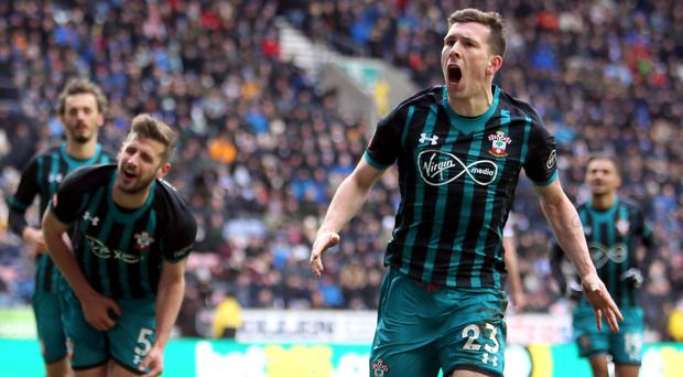 Southampton's Pierre-Emile Hojbjerg (right) celebrates scoring his side's first goal