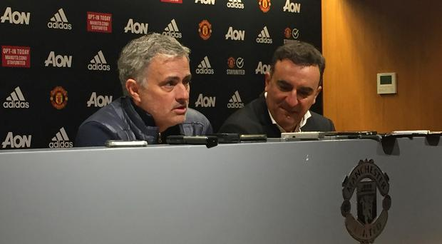 Jose Mourinho welcomed Swansea boss Carlos Carvalhal, right, into his press conference