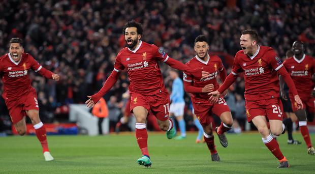 Mohamed Salah, centre, netted the opener
