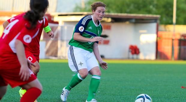 Hard luck: Northern Ireland skipper Marissa Callaghan was unable to convert when through on goal against Netherlands