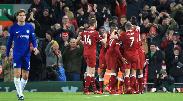 Liverpool celebrate Mohamed Salah's goal