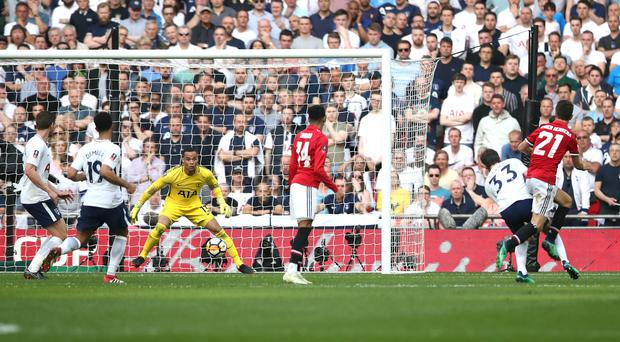 Manchester United's Ander Herrera (right) scores his side's second goal of the game