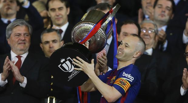 Andres Iniesta scored as Barcelona won the Copa del Rey
