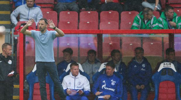 Schalke boss Domenico Tedesco, left, was left to rue his side's missed chances