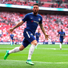 On target: Olivier Giroud danced past four Southampton players to score in front of the Chelsea fans and send his new club to the FA Cup final