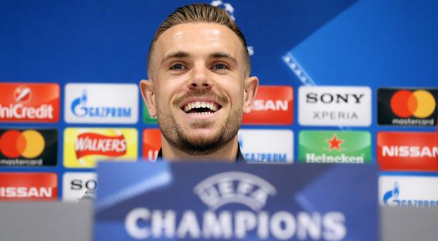 Jordan Henderson will lead Liverpool out against Roma
