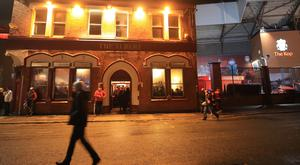 A Liverpool fan was attacked outside the Albert pub ahead of the game with Roma
