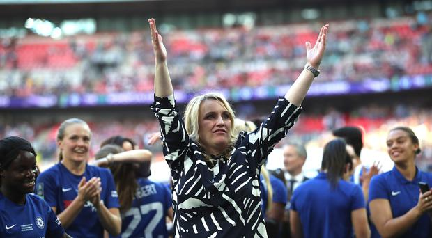Chelsea Ladies manager Emma Hayes (centre) was able to enjoy the closing stages of her side's FA Cup win at Wembley (Adam Davy/PA Images)