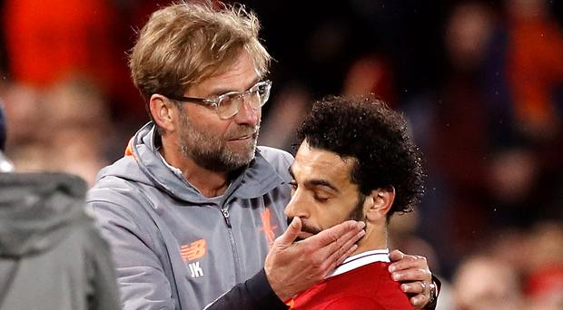 Liverpool boss Jurgen Klopp, left, told Mohamed Salah off for diving at Chelsea