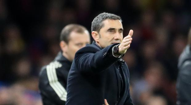 Barcelona coach Ernesto Valverde has urged his players not to ease up with history in sight.