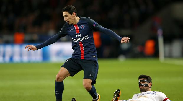 Angel Di Maria, left, hit the crossbar before Rennes opened the scoring
