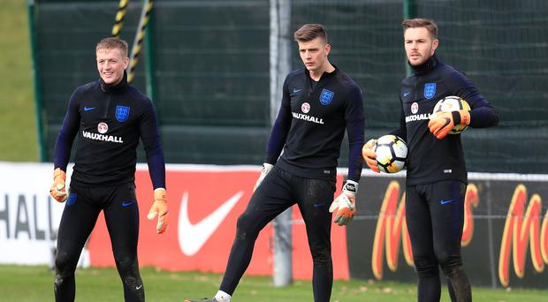 Jordan Pickford, Nick Pope and Jack Butland, left to right, form an inexperienced goalkeeping trio