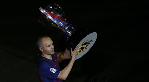 Andres Iniesta bid an emotional farewell to the Nou Camp on Sunday night
