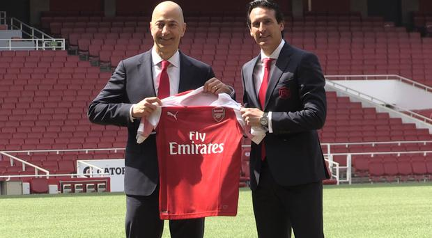 New Arsenal manager Unai Emery, right, with chief executive Ivan Gazidis