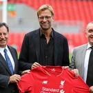 Jurgen Klopp (centre) and former chief executive Ian Ayre at the Liverpool manager's unveiling