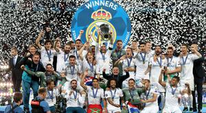 Real Madrid celebrate their 13th Champions League title against Liverpool in Kiev
