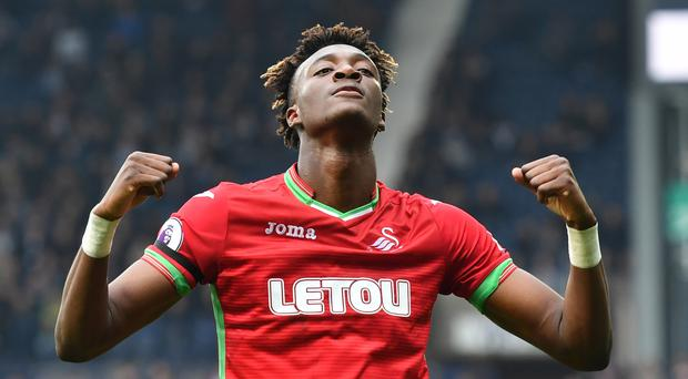 Swansea's Tammy Abraham celebrates scoring his side's first goal of the game during the Premier League match at The Hawthorns