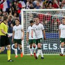 Net loss: Declan Rice is dejected after conceding against France