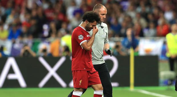 Mohamed Salah was injured during the Champions League final against Real Madrid (Mike Egerton/PA)