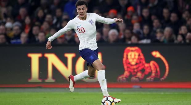 England's Dele Alli in action during the international friendly match at the Amsterdam ArenA.
