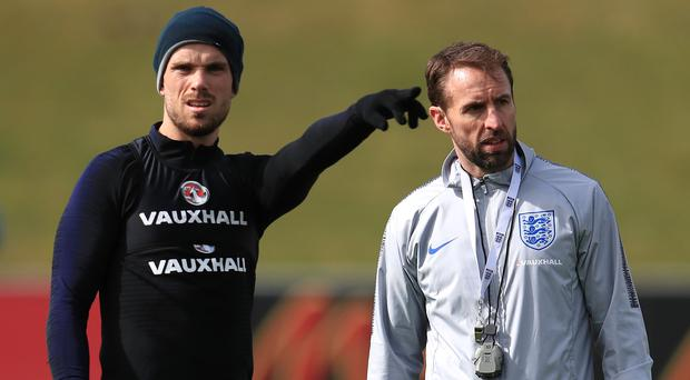 Gareth Southgate, right, and Jordan Henderson (Mike Egerton/PA)
