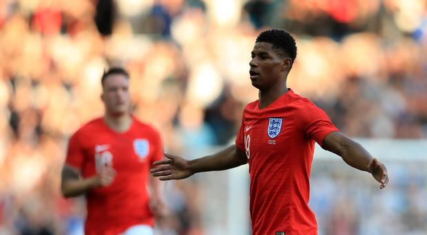 England's Marcus Rashford (right) stole the show in Leeds (Mike Egerton/PA)