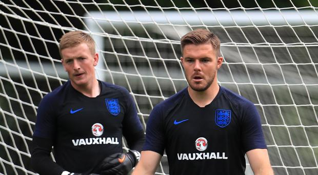 Jordan Pickford, left, and Jack Butland are battling it out for the number one shirt at the World Cup (Mike Egerton/PA)